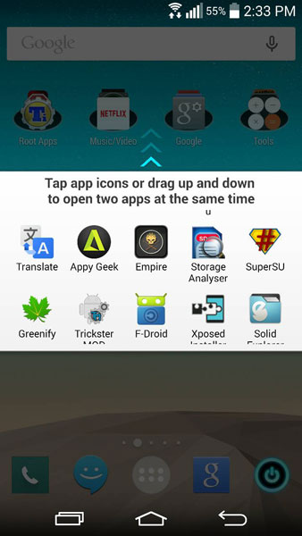 enable all apps split view lg g3