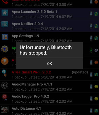 bluetooth has stopped lg g3