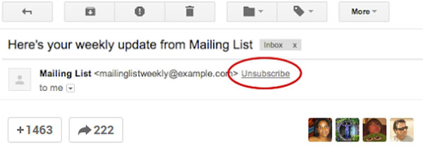 unsubscribe gmail junk mail spam