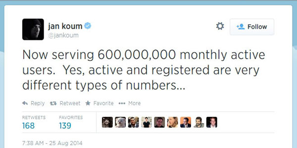 whatsapp 600 million active users