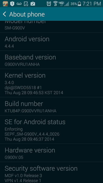 android 4.4.4 KiKat Verizon Galaxy S5 SM-G900V