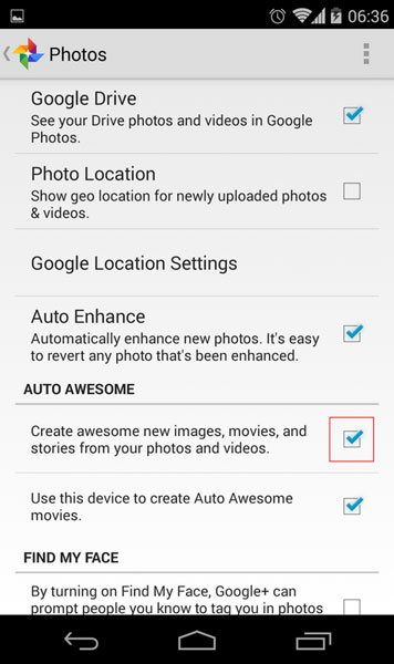 disable auto awesome feature android ios