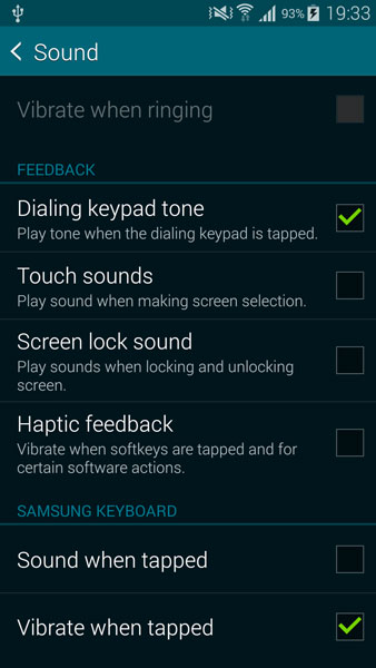 disable system sounds galaxy note 4
