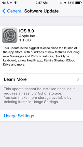 update cannot install ios 8 error message