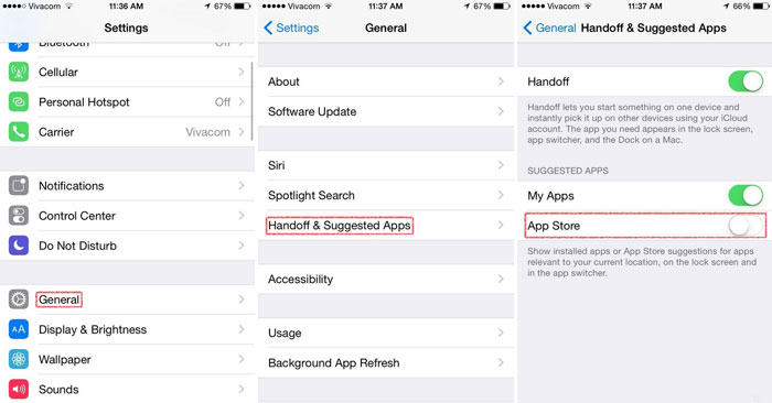 disable app suggestions ios 8