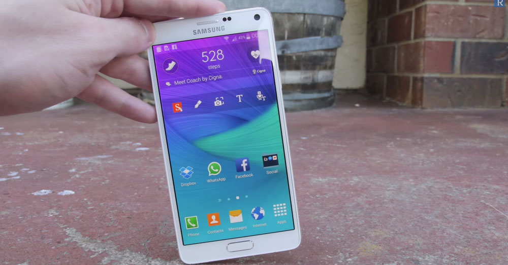 galaxy note 4 drop test front