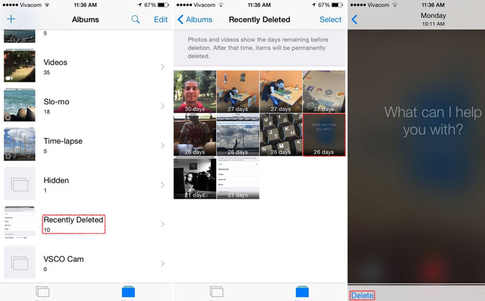 recently deleted picture gallery ios 8