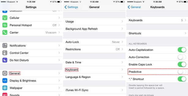 turn off next word predictions ios 8