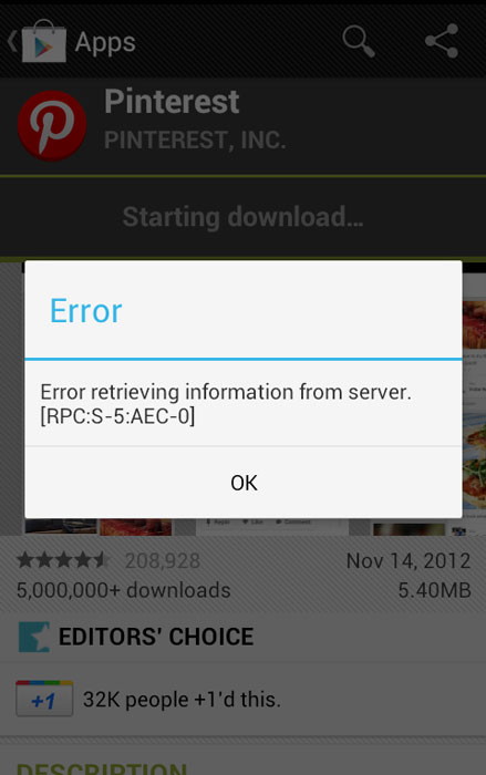 Play Store Error Retrieving Information From Server fix
