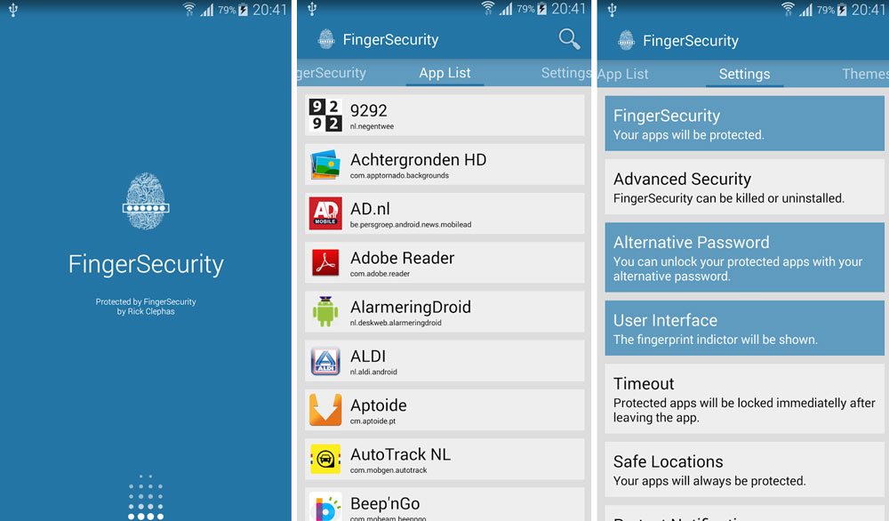finger security all apps samsung