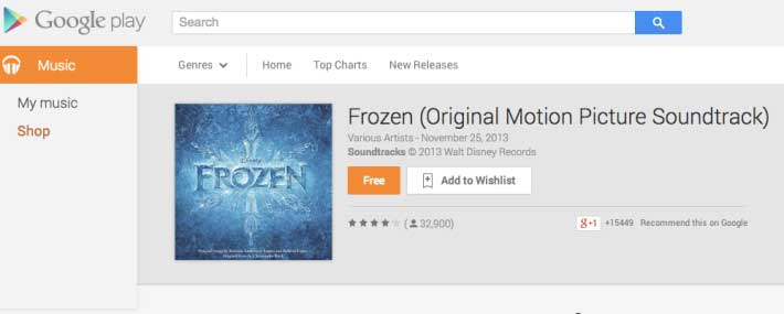 frozen let it go song free play store