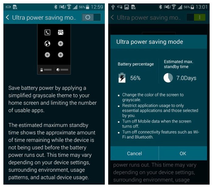 power saving mode galaxy note 4