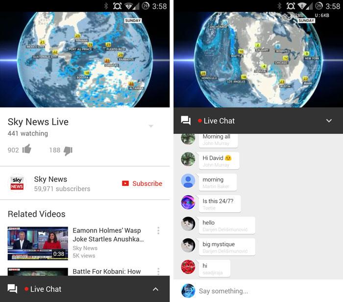 youtube app comment livestream