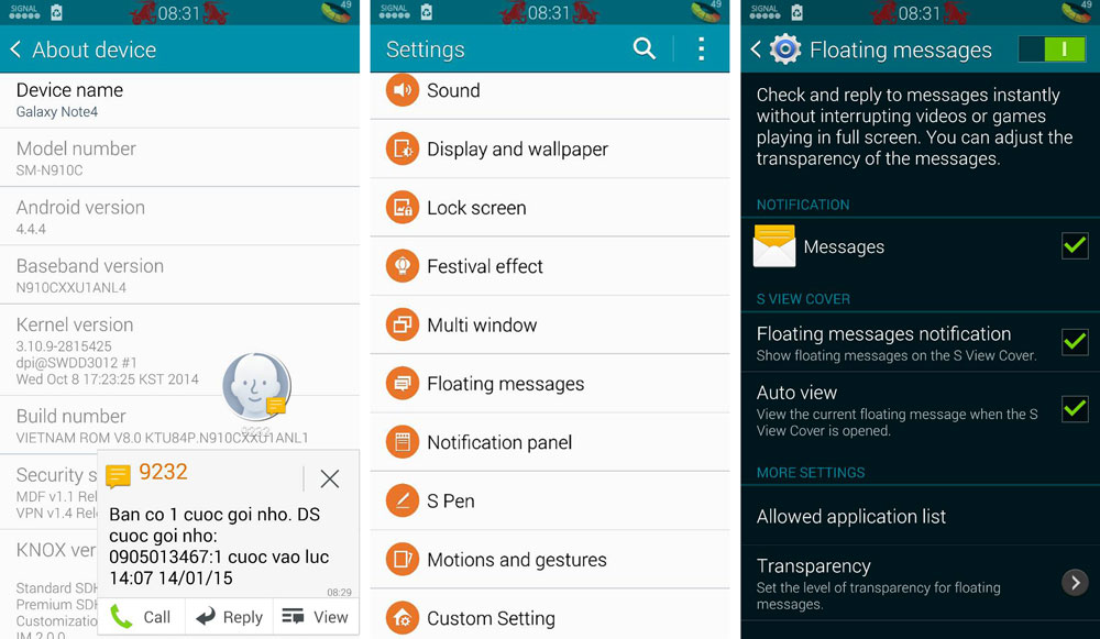 Enable Galaxy Note 4 Floating & Air Messages on Note 3