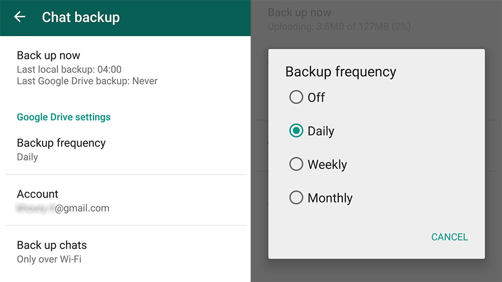 whatsapp backup google drive