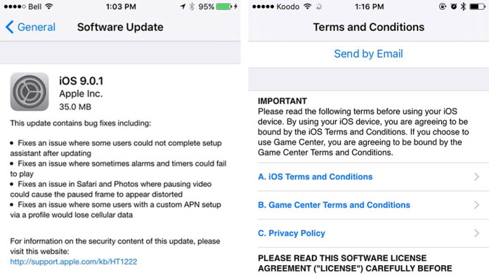 ios 9.0.1 ota software update