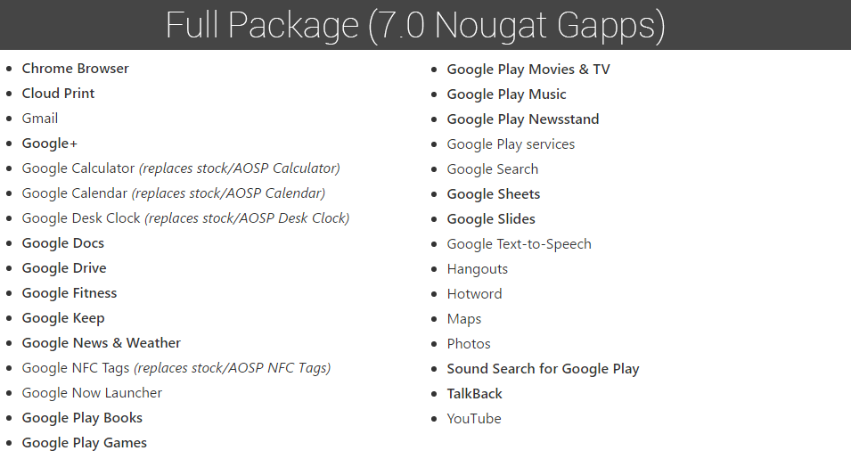 android 7.0 gapps full package