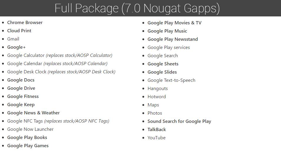 Download Android 7 0 Nougat Gapps [Pico, Nano, Micro, Mini