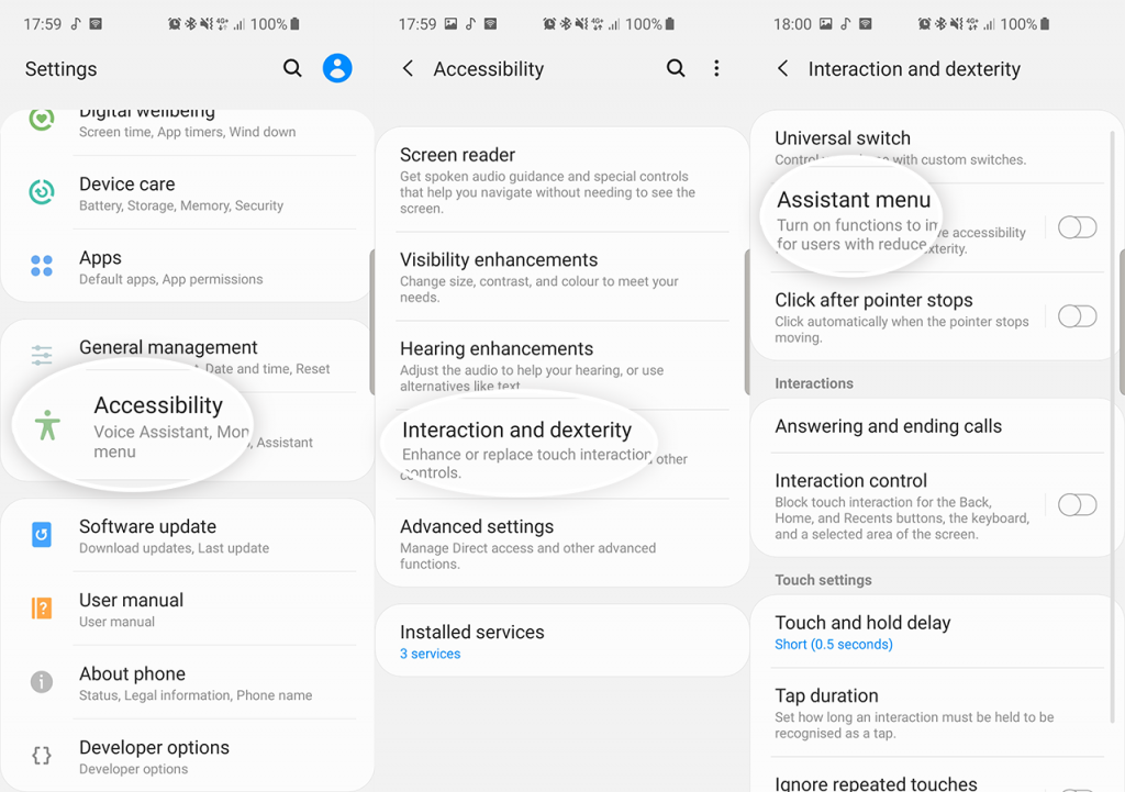 Cara Screenshot Samsung Galaxy A50 dengan Menu Asisten