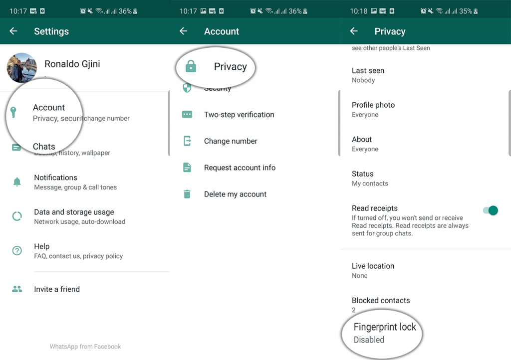 enable whatsapp fingerprint lock