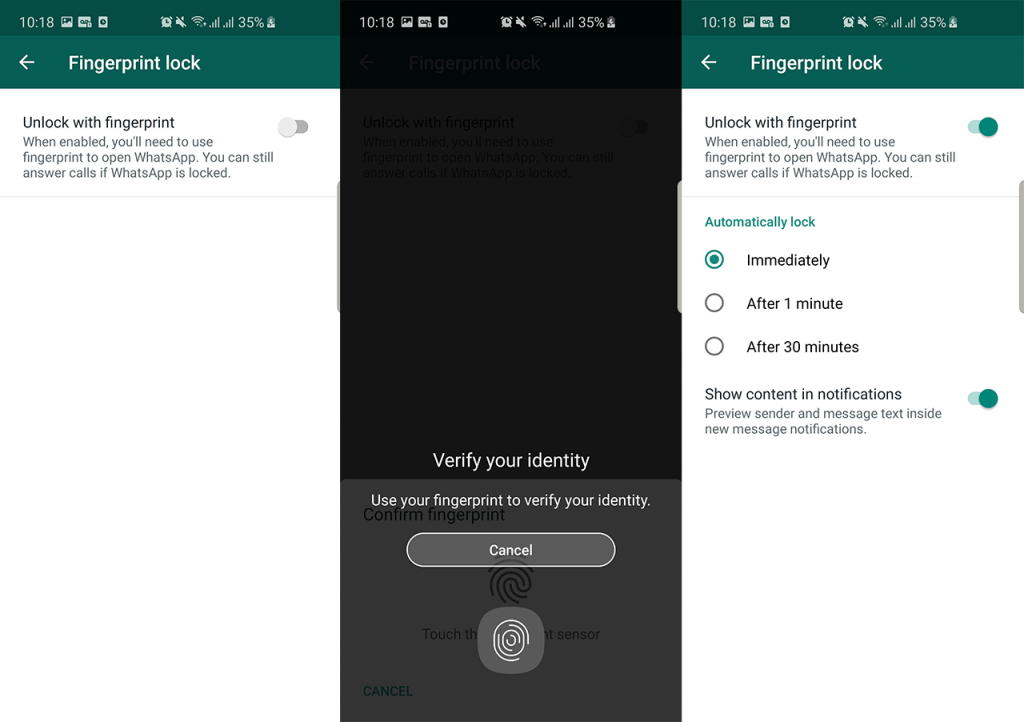 whatsapp apk fingerprint lock