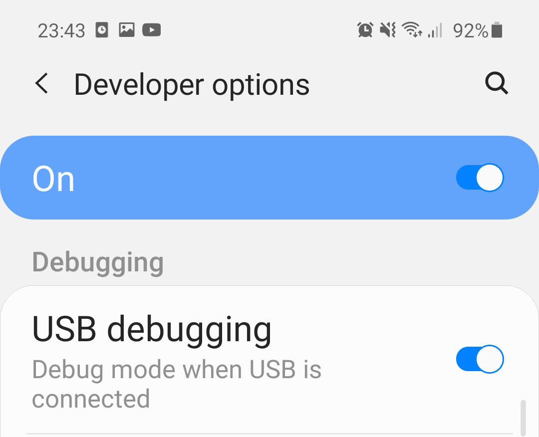 galaxy s20 fe usb debugging