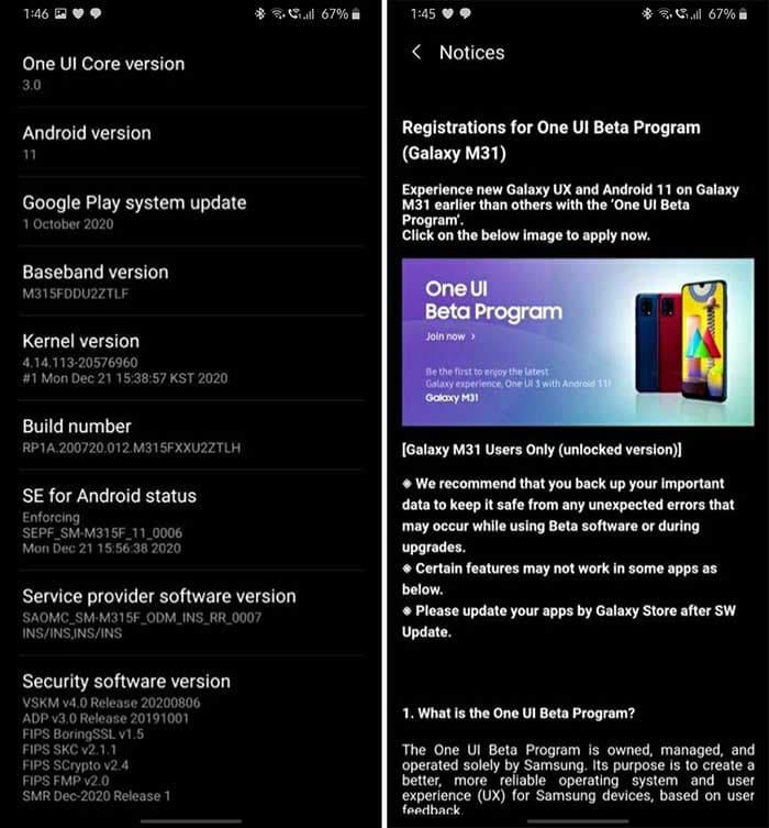 galaxy m31 one ui 3 update